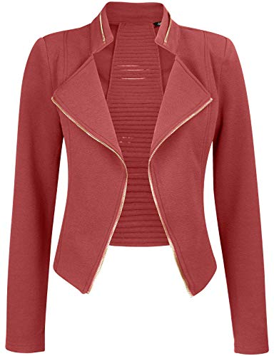 Michel Womens Casual Zip Up Blazer Slim Fit Crop Jacket Large