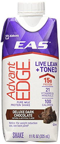 EAS AdvantEDGE Ready-To-Drink Nutrition Shake, Rich Dark Chocolate, 12 Count,11 fl. oz each