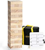 A11N SPORTS Large Tumble Tower Game | 54 Blocks, Starts at 1.5 Feet Tall and Build to 3 Feet Tall | Wooden Sta