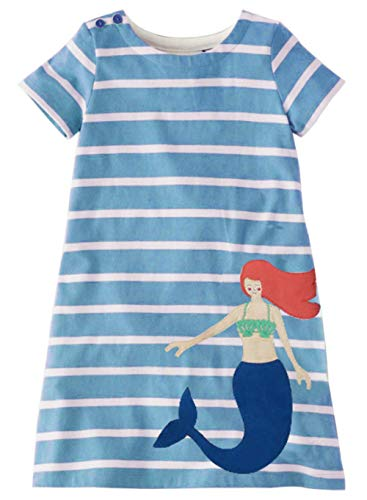 Little Girl Dresss Mermaid Spring Summer Short Sleeve Casual Applique Cartoon Dress ()