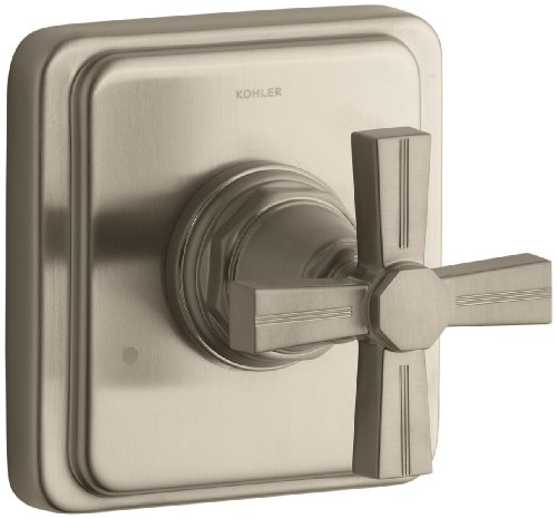 KOHLER K-T13175-3B-BV Pinstripe Transfer Valve Trim, Cross Handle, Valve Not Included, Vibrant Brushed - Pinstripe Tub Bv