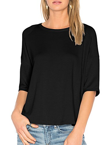 3/4 Sleeve Pullover (ALLY-MAGIC Womens Casual Cotton T-Shirt 3/4 Sleeves Casual Loose Fit Top Pullover Simple Blouse C6722 (XXL, Black))