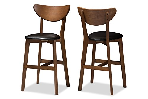 (Baxton Studio 144-424-8075-AMZ Elliane Bar Stool (Set of 2), Black/Walnut Brown)