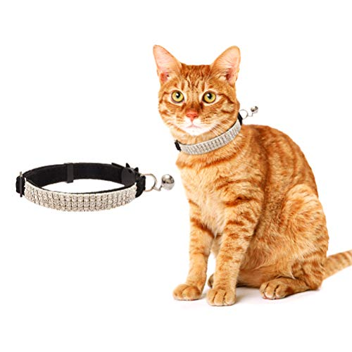 (BINGPET Cat Collar Breakaway with Bell - Bling Rhinestones and Safety Buckle Collar for Cats, Adjustable)