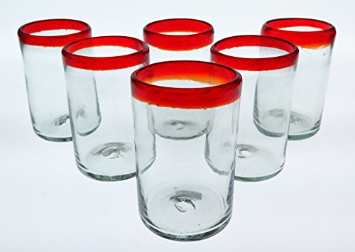 Mexican Glass Red Rim, Hand Blown, 16 Oz, set of 6 by Mexican Glasses