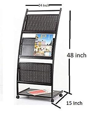 Lepose 4 Tray Magazine Stand and Newspaper Stand/Catalog, Brochure Stand(Metalic Black)