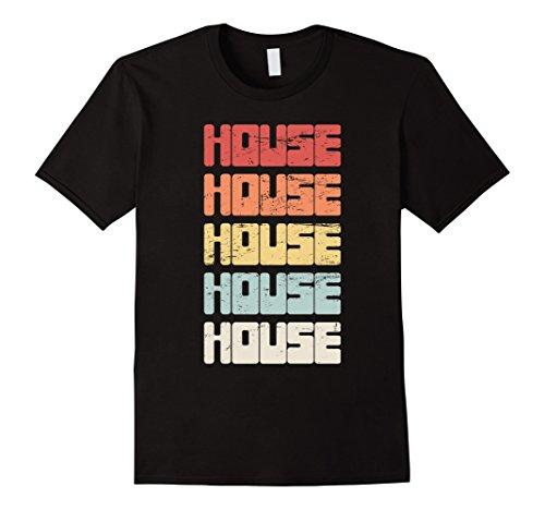House Retro Music (Mens Retro Distressed Electronic House Music T-Shirt Medium Black)