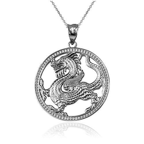 LA BLINGZ 10K White Gold Chinese Dragon Open Medallion Pendant Necklace (16)