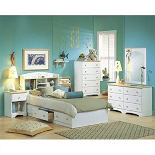 MyEasyShopping Twin Size Mates Platform Bed in White/Maple with 2 Storage Drawers French Footboard Wood