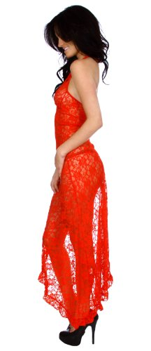 Simplicity Lace Lingerie Long Babydoll Halter Dress Sheer Nightgown Gown