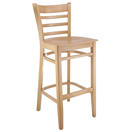 Beechwood Mountain BSD-5BW-N Solid Beech Wood Kitchen and Dining Bar Stool with Wood Seat, (Beech Stool)