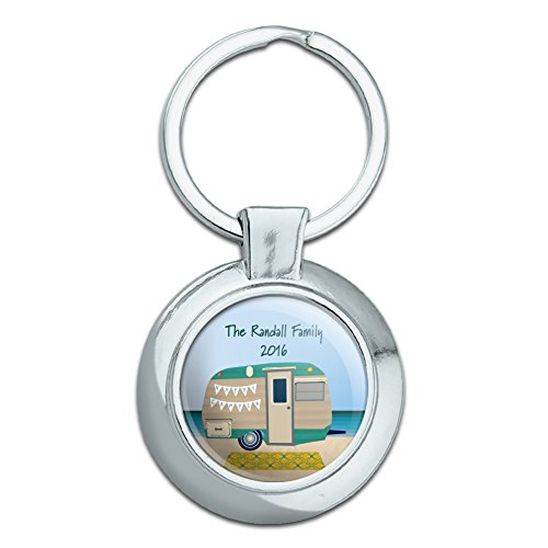 Graphics and More Personalized Custom Happy Camper Trailer Beach Camping Family Classy Round Chrome Plated Metal Keychain