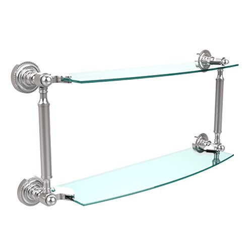 Allied Brass DT-34/18-PC Dottingham Collection 18 Inch Two Tiered Glass Shelf, Polished Chrome