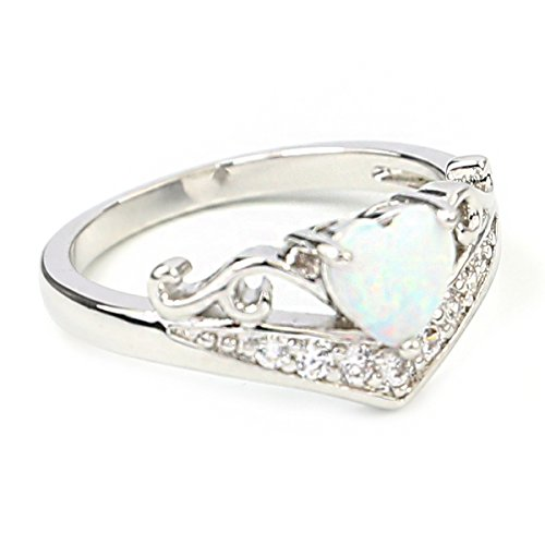 FC JORY white Gold Plated Oval Heart Love Created CZ Opal Band Crystal Ring (6)