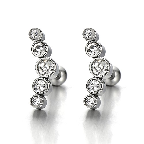 Stainless Steel Stud Earrings with Cubic Zirconia for Women and Girls, Screw Back, 2pcs (Steel Screw Cubic Zirconia)