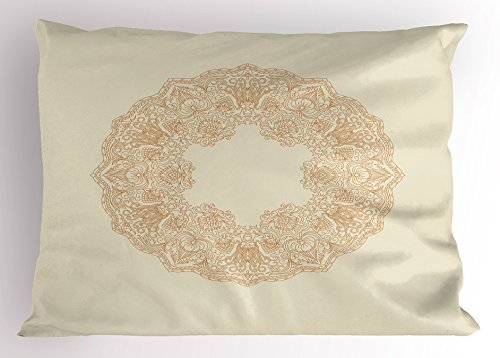 Lunarable Ivory Pillow Sham, Abstract Lace Design with Floral Frame Pattern with Petals Stalks Vintage Image, Decorative Standard Queen Size Printed Pillowcase, 30 X 20 inches, Beige ()