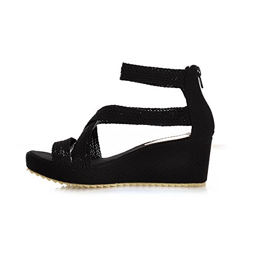 Amoonyfashion Kvinnor Fasta Blandningsmaterial Kattunge-häl Öppnar Tå Zipper Kilar-sandaler Svarta