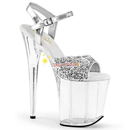 20 cm high heels sandaletten roten kristall hochzeit schuhe cross - dressing schuhe, weil schuhe silber - gesicht