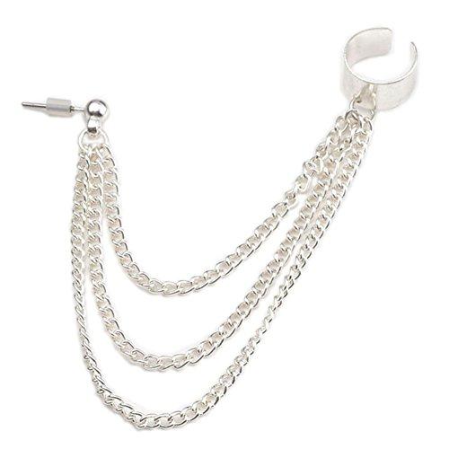 PiercingJ 1-9pcs Punk Silver Tassels Fringe Chain Ear Cuff Stud Clip Earrings Helix Cartilage Barbell Tragus Studs Clip On (Chain Cuff Earrings)
