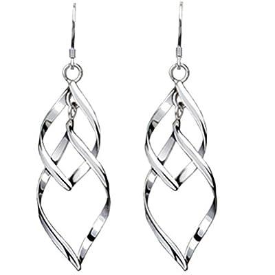 Isenretail Fashion Jewelry Ladys 925 Silver Plated Double Twist Wave Long Tassels Drop Dangle Earrings