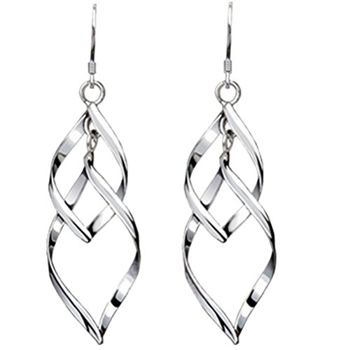 Ladies Fashion Drop (Isenretail Fashion Jewelry Ladys 925 Silver Plated Double Twist Wave Long Tassels Drop Dangle Earrings)
