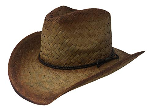 (Chapeau Tribe Pinch Front Natural Western Tea Stained Straw Cowboy Hat with Braided Band)