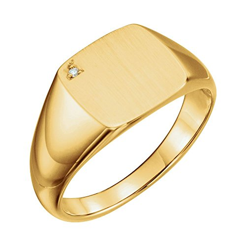 14kt Yellow .006 CTW Diamond Men's Signet Ring - Ladies 14kt Gold Signet Ring
