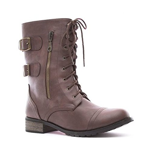 SoHo Girl Women's Brown Lace Up Patent Leather Side Zip Combat Boots (8)