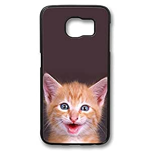 Brian114 Samsung Galaxy S6 Case, S6 Case - Perfect Fit Black Hard Back Case Cover for Samsung Galaxy S6 Cute Curiosity Cat Edge Case Impact Protection for Samsung Galaxy S6