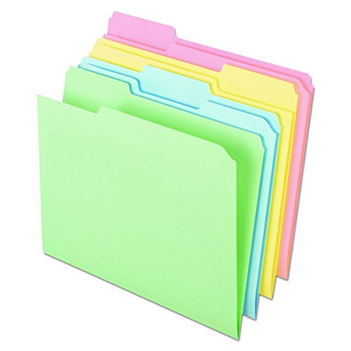 Pendaflex C2113PASR Pastel Color File Folders, 1/3 Cut Top Tab, Letter, Assorted (Box of 100) Pastel Color File Folders