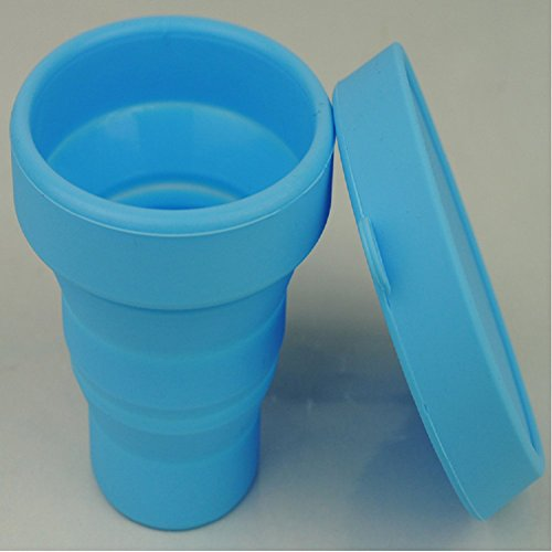 New 2016 Lovely Portable Silicone Folding Cup Telescopic Collapsible Mug Foldable Travel Camping Tool Blue