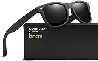 Kimorn Polarized Sunglasses Square Frame Horn Rimmed 80's Retor Glasses K0300