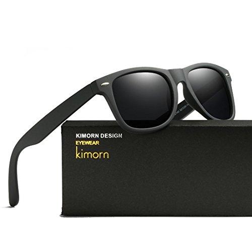 Kimorn Polarized Sunglasses Square Frame Horn Rimmed 80's Retor Glasses K0300