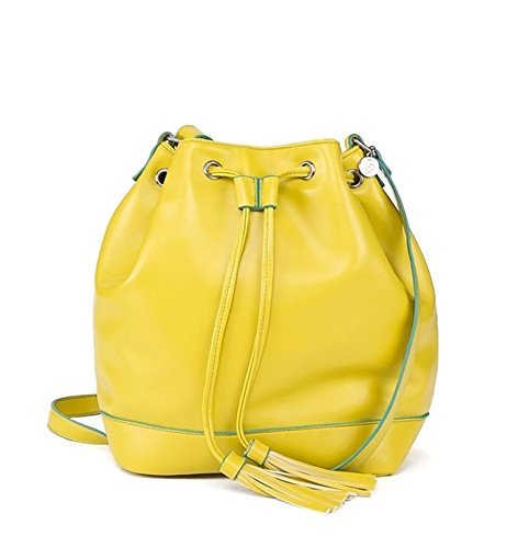Halsted Leather - About Face Designs Women's Bobbi Chicago Halsted Bucket Bag Backpack, Yellow, One Size