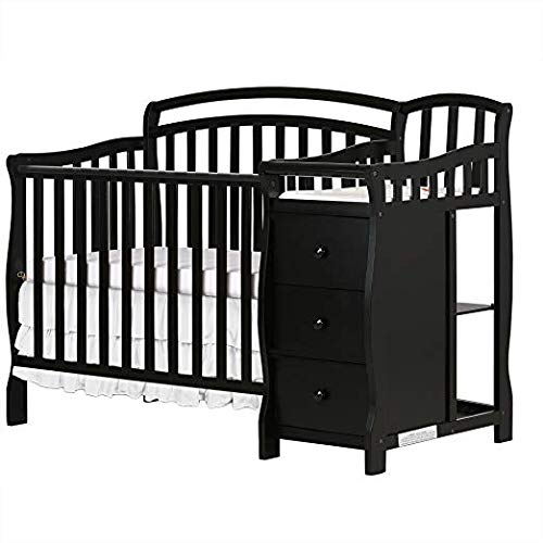 (Dream On Me Casco 3 in 1 Mini Crib and Dressing Table Combo Black with Two Sided Contour Changing Pad, White and 3