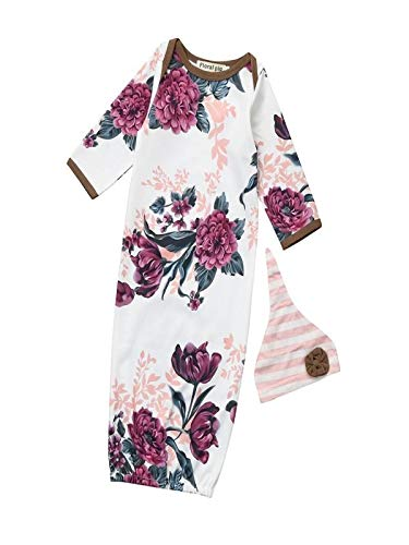 - MSOO 2Pcs Newborn Infant Baby Girls Boy Floral Print Pajamas Gown Swaddle Outfits