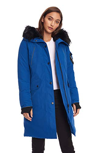Alpine North Womens Vegan Down Long Parka Winter Jacket, Cobalt, ()