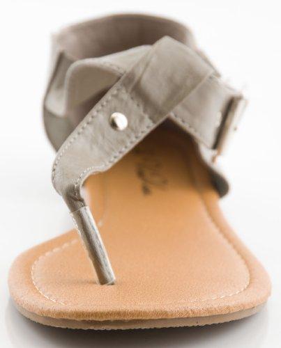 Womens T Strap Gladiator Sandals w/Woven Heel Cap Design (9/10, Grey/Fushia 6227)