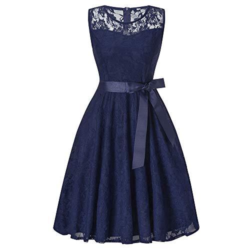 DEATU Bridesmaid Lace Dress Women Sleeveless/Long Sleeve Formal Ladies Wedding Bridesmaid Lace Long Dress(F-Blue,XXL)