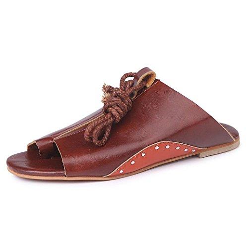 Minetom Sandales Femmes Plates-Bouts Ouverts Femme Sandales Plat Lacets Sandales Mode Chaussures Été Tongs C Marron QV3q17jSd