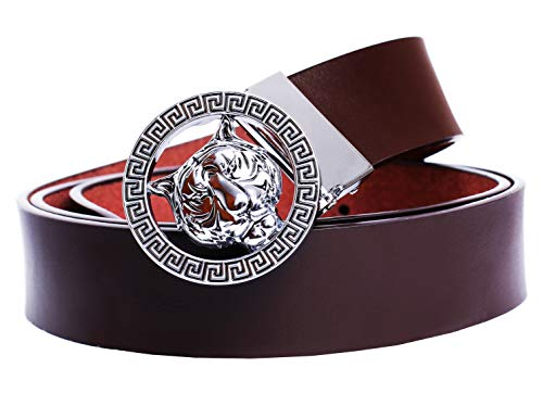 Old John Leather Men's Luxury Gold/Silver Tiger Buckle 35-mm Italian Leather Belt (105cm/41.3inch(34-36), Brown Silver)
