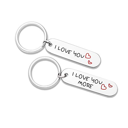 Couple Keychains Set 2 Pcs Him Her I Love You More Personalized Key Chain Engraved Dog Tag Pendant His Hers Key Chains Gifts Men Women Husband Wife Boyfriend Girlfriend Mom Daughter