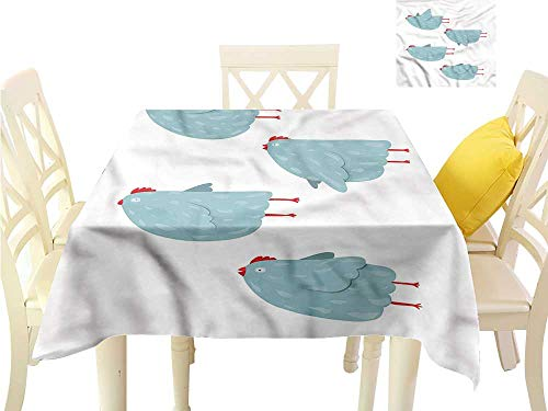 WilliamsDecor Outdoor Picnics Chicken,Pastel Colored Flying Hen Waterproof Table Cloth W 54