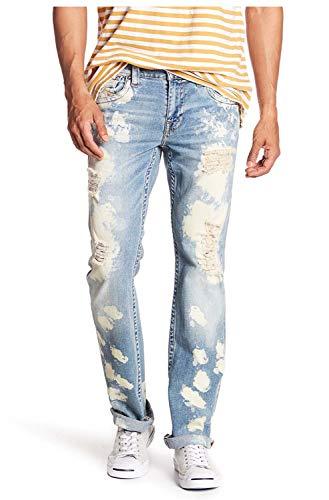 True Religion Men's Straight Flap Red Orange Denim Jeans-Moving Tide-34