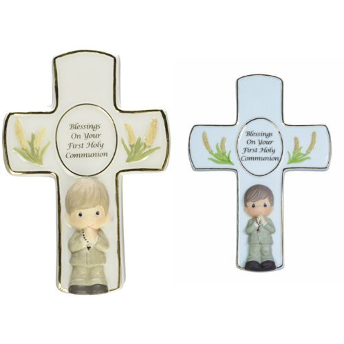 Precious Moments, Communion Gifts, Blessings On Your First Holy Communion Bisque Porcelain Covered Box With Rosary and Cross with Easel Stand For Boy (Moments Precious Box Covered)