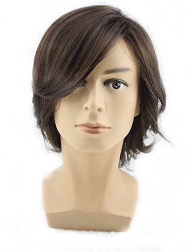 Hairstyle For Halloween (TopWigy Men Medium Style Short Layered Wigs Oblique Fringe Hairstyle Dark Brown Halloween Cosplay Wig Anime Costume Party)