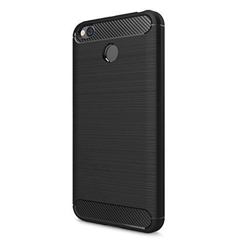 Price comparison product image XiaoMi RedMi 4X Case - Ultra Thin Soft TPU Shock Proof Back Cover with Carbon Fiber Design Protective Case for XiaoMi RedMi 4X - Black