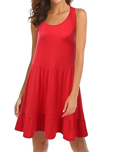 red Loose Awdsd0770 Fit USA Doublju Plus Hem Womens Made Ruffle in Size Sleeveless Dress with 6wTwZqA4