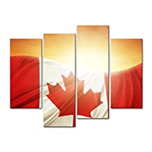 My Easy Art® 4 Piecesmodern Canvas Painting Wall Art The Picture For Home Decoration Canadian Flag In Front Of Bright Sky Country Symbol Print On Canvas Giclee Artwork For Wall Decor