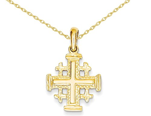 Jerusalem Cross Pendant Necklace in 14K Yellow Gold with Chain ()